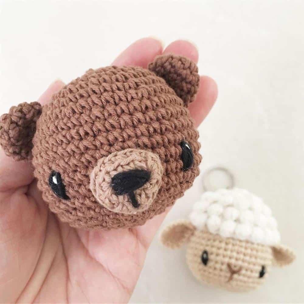 cabeça de ursinho amigurumi
