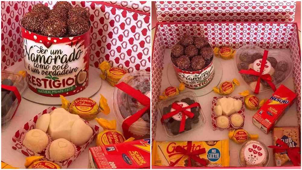 caixa só com doces e biscoitos