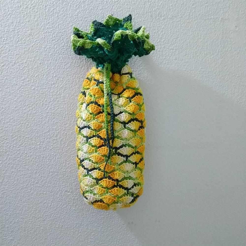 puxa saco de croche abacaxi
