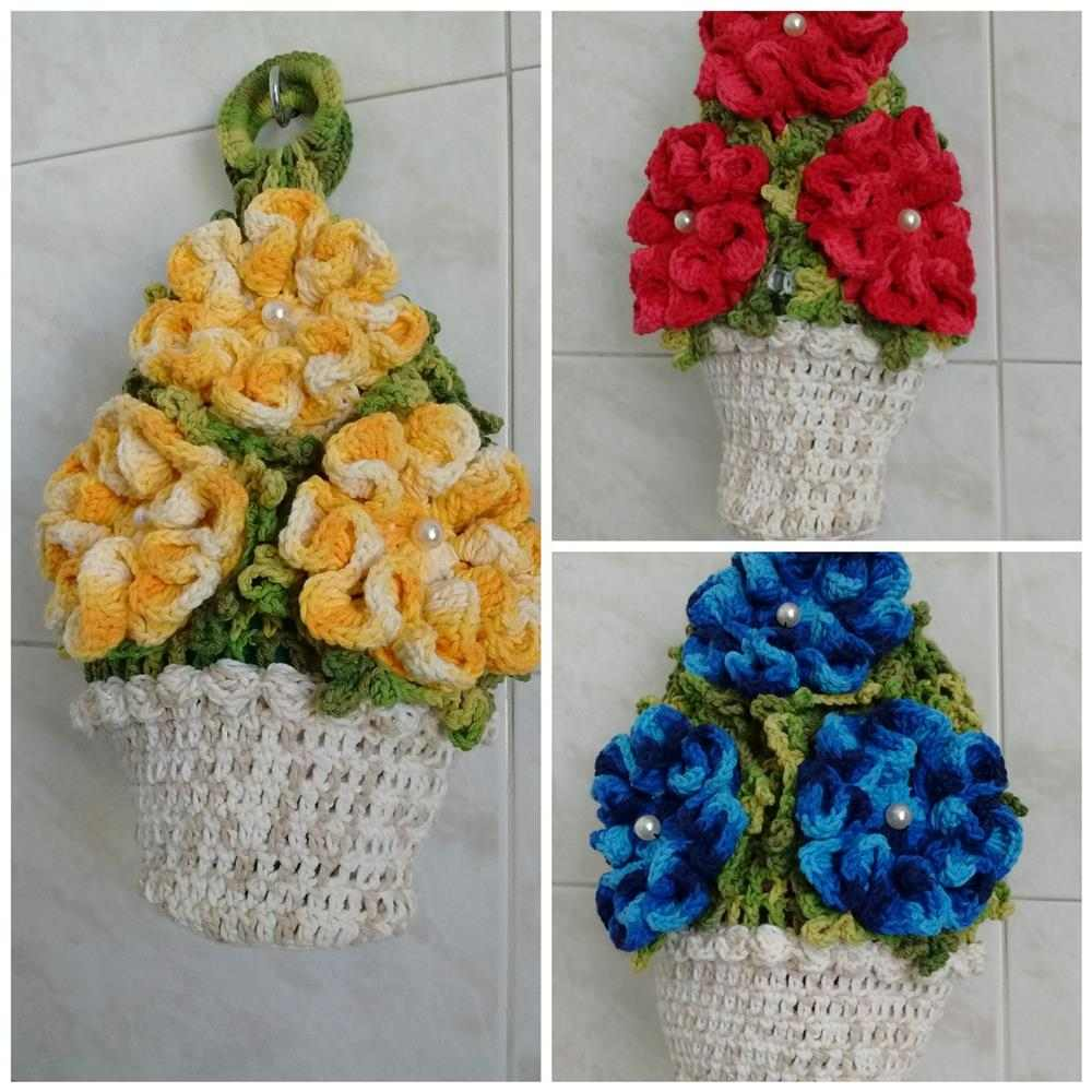 puxa saco de croche vaso de flores