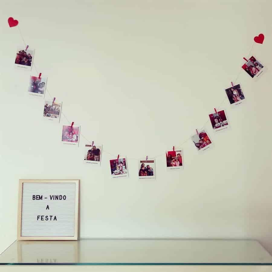 ideia para decorar a parede com fotos