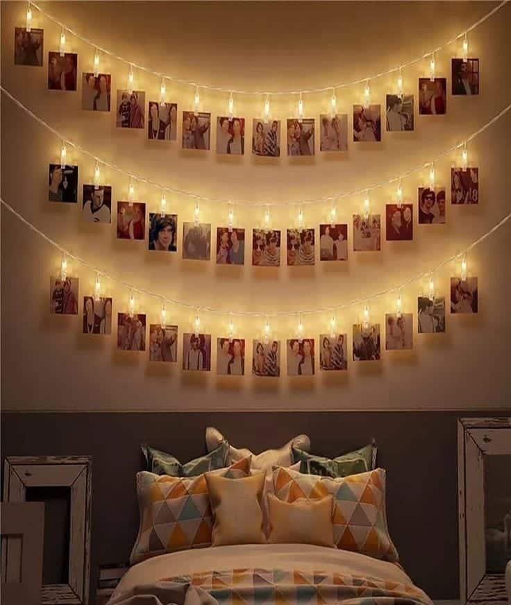 varal de fotos com luz