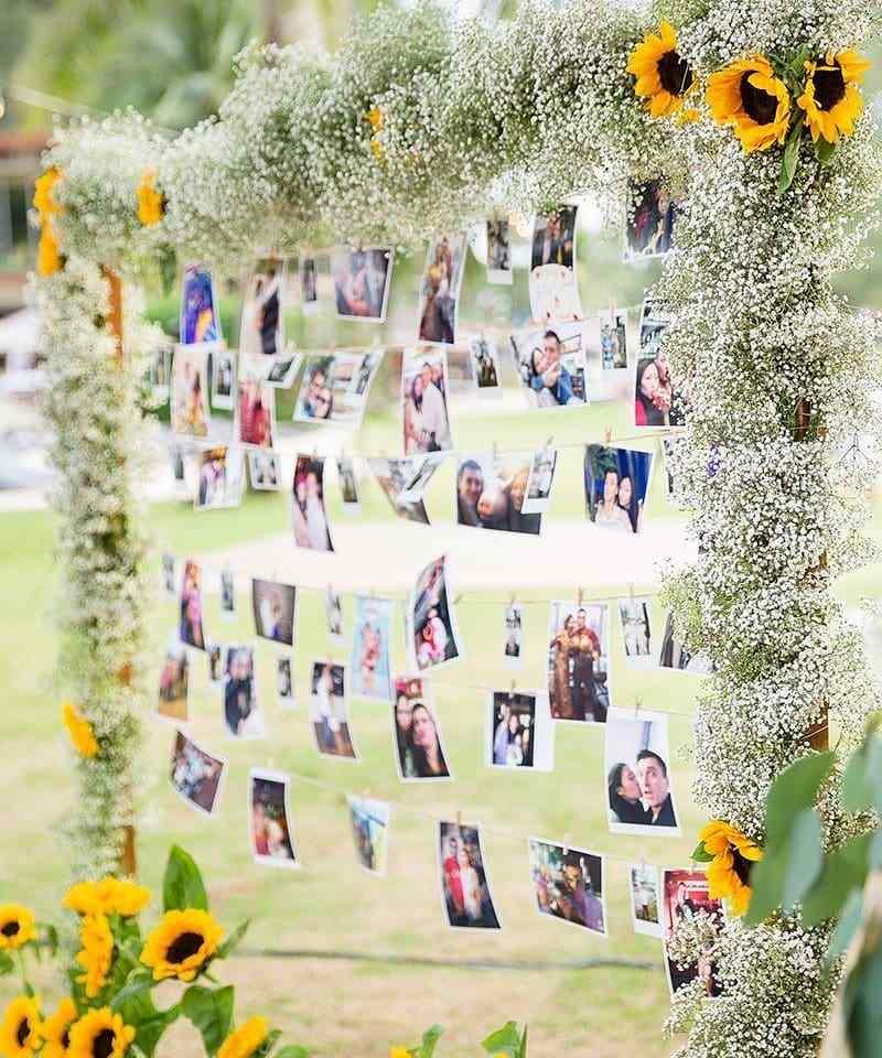 arco de flores e fotos