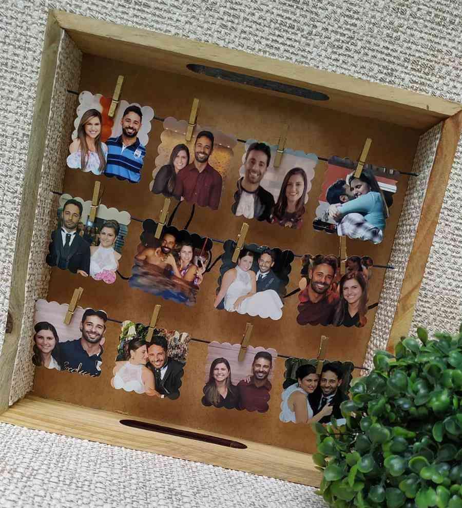 decoração criativa com fotos no caixote