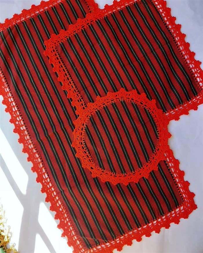 amostra de bico de crochê para tapete
