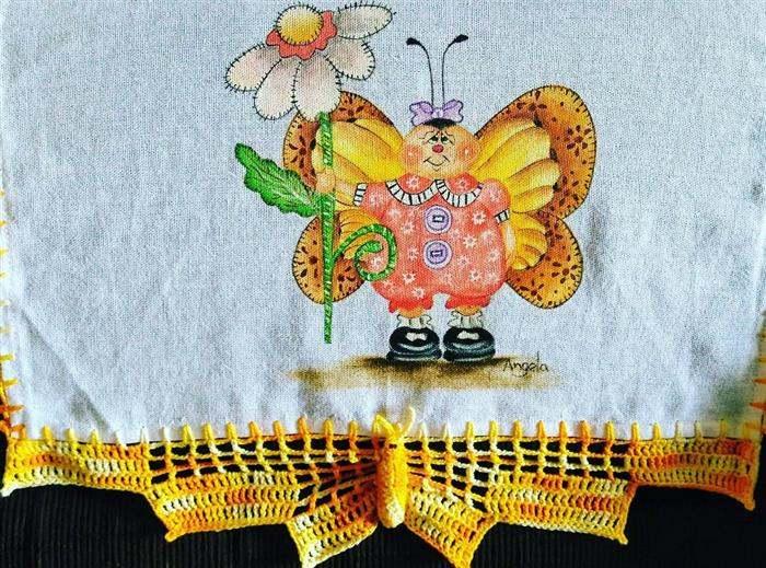 bico de croche pano de prato facil borboleta