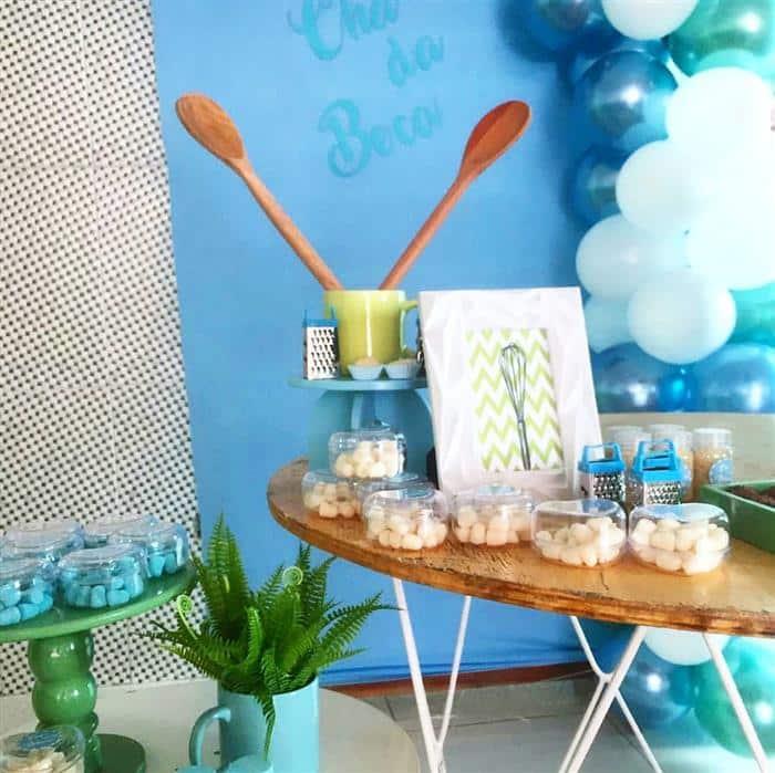 decoração de chá de panela azul