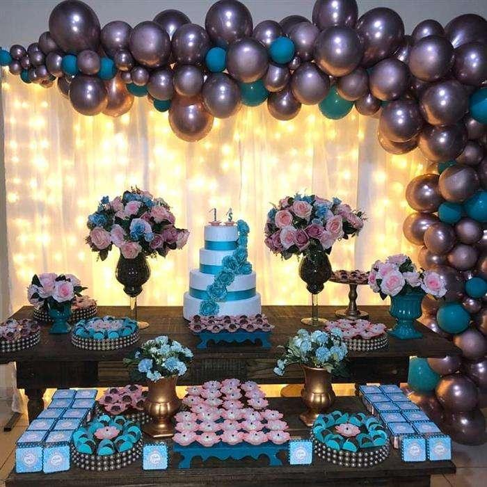 decoração 15 anos azul e rosa