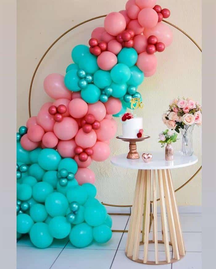 decoração de 15 anos com baloes