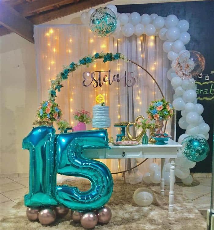 decoração festa azul e branco