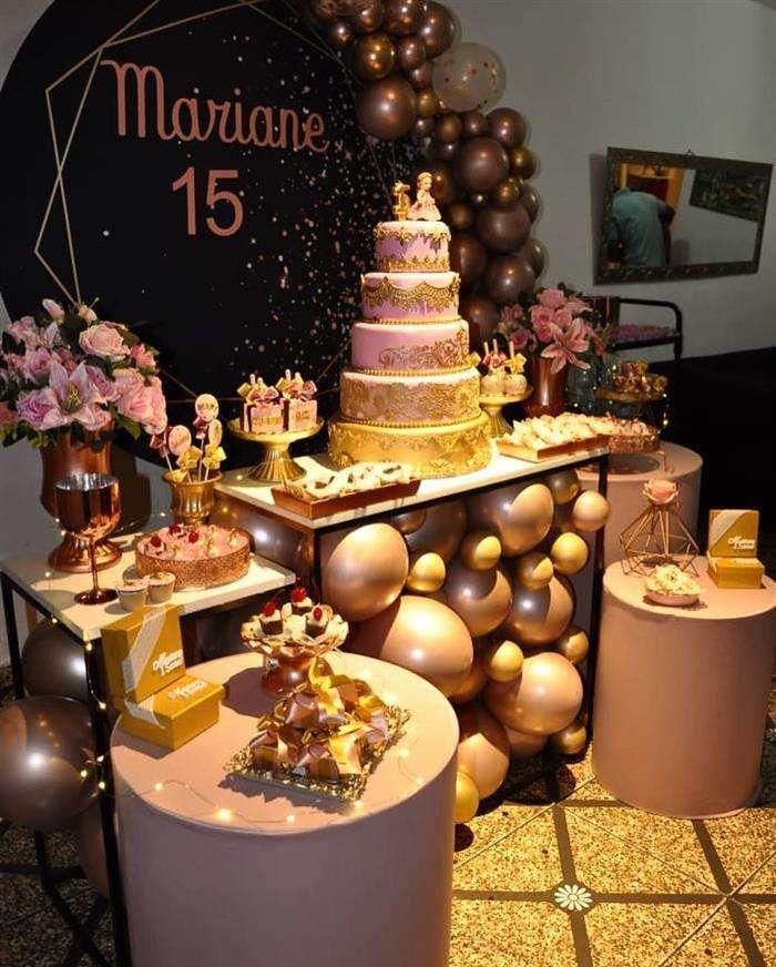 decoração festa preto e rosa