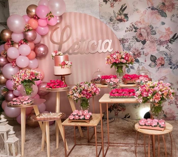 decoração festa rose gold