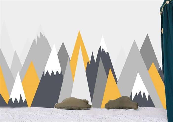parede pintada com fita montanhas