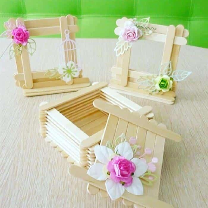 artesanato com palitos e flores