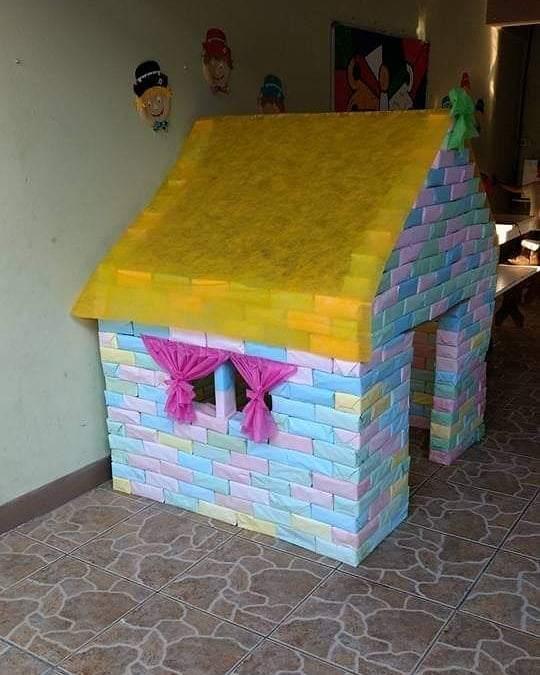 casinha de caixa de leite para brincar