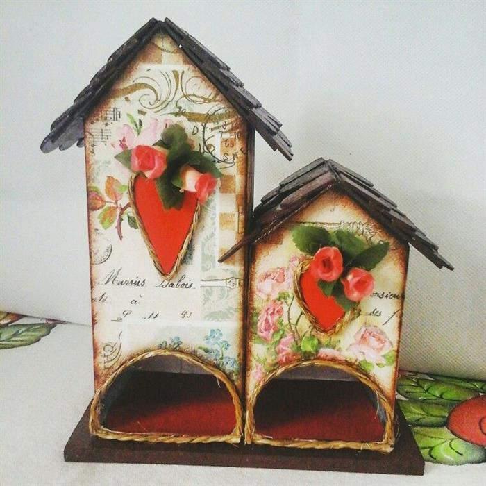 casinha porta cha feita com caixa de leite
