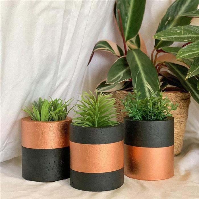 vasos de cimento modernos