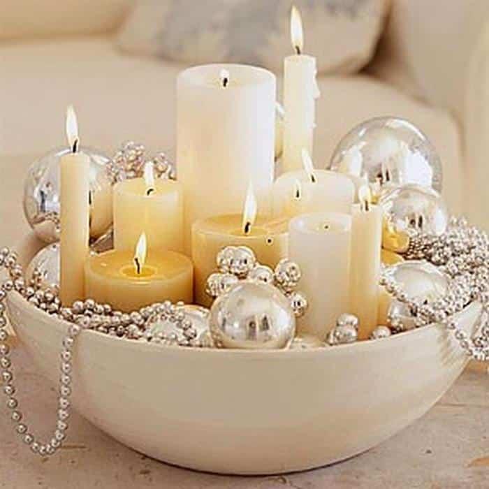 decoração de ano novo com velas