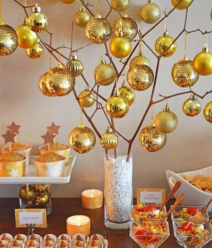 decoração de mesa para o ano novo simples
