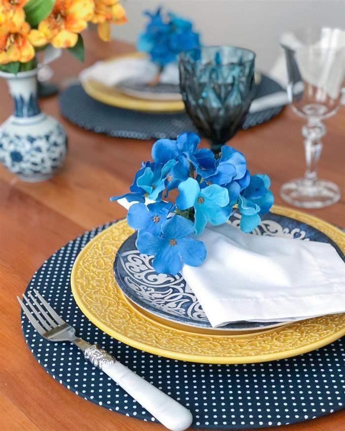 porta guardanapo de flor azul