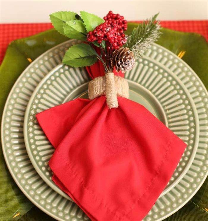 porta guardanapo de flor de natal