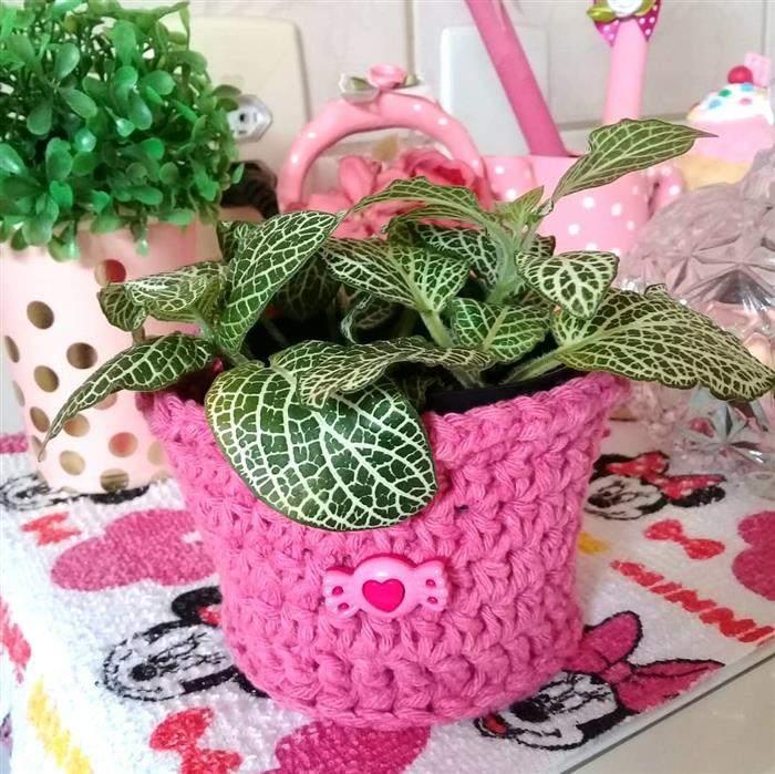 cachepot de croche para plantas