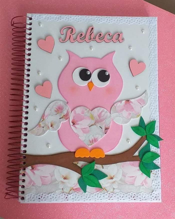 capa de caderno corujinha