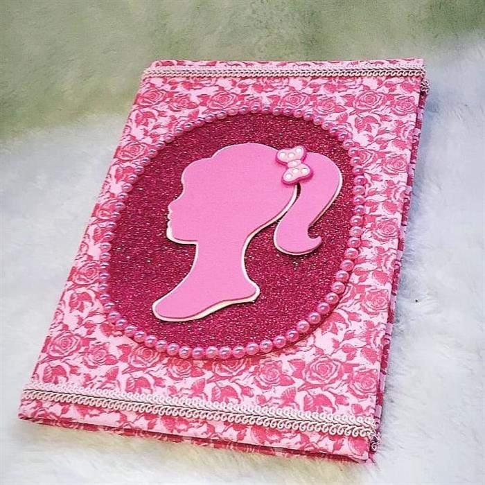 capa de caderno rosa