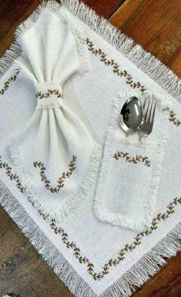 Porta talher de tecido  delicado