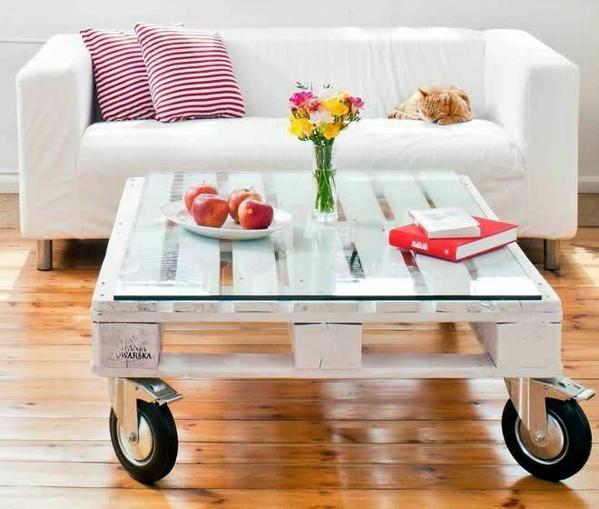 mesa de centro com pallet pintado