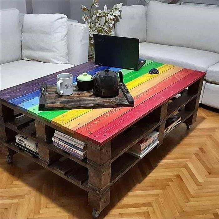 mesa de centro de madeira de pallet