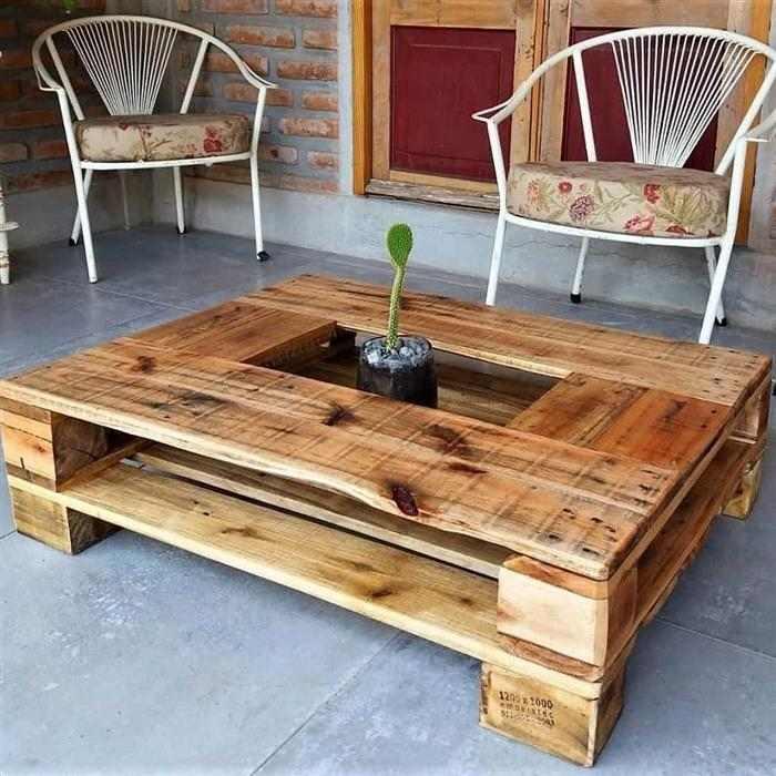mesa de centro de paletes de madeira